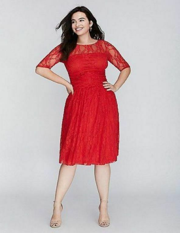 7818c1164bd NEW LANE BRYANT RED LUNA LACE DRESS BY KIYONNA SZ 1X 14 16 nnbfgm3022- Dresses