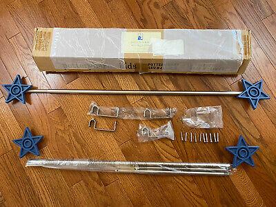 Set Of 2 Pottery Barn Kids Blue Stars Finials Curtain Rods