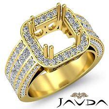 18k Yellow Gold Princess Cut Semi Mount 1.5Ct Diamond Engagement 3 Row Halo Ring