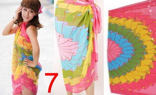 Le donne in chiffon spiaggia bikini coprire Wrap Sciarpa Costumi Da Bagno Pareo Sarong Abito UK