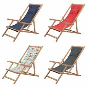 Image Is Loading Vidaxl Folding Beach Chair Fabric Wood Frame Outdoor