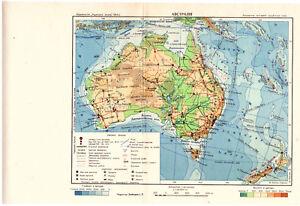 Map Of Australia For Students.Details About Old Vintage Ukraine 1954 Original Map Australia For Students Ussr Soviet School
