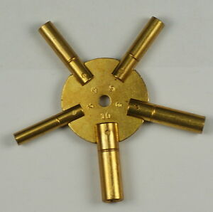 CLOCK SPIDER KEYS BRASS WINDING KEYS 2-10 EVENS key winders old clocks key wind