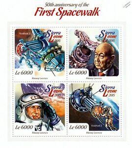 Objectif Cosomonaut Alexei Leonov Première Sortie Dans L'espace/space Stamp Sheet (2015 Sierra Leone)-afficher Le Titre D'origine Style à La Mode;
