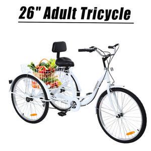 """Ridgeyard 24/"""" Adult Tricycle Shimano 7Speed Bicycle Bike Cruiser Basket Backrest"""