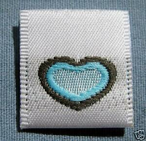 LOT-OF-50-WOVEN-CLOTHING-LABELS-SIZE-TAGS-BLUE-HEART
