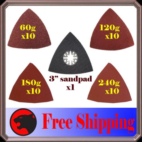 41 Pc Triangular Sanding Kit Oscillating Multi Tool Pad Dremel Milwaukee Chicago