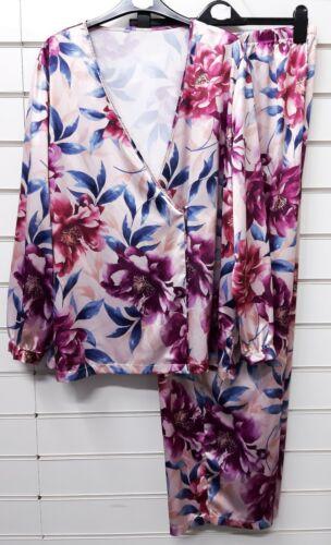 Femmes Ex Boutique Grande Taille Qualité Satin Pyjama Set Taille UK 22