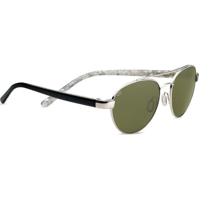 784ea087968 New Serengeti 7776 Mondello Shiny Silver Black Ivory 555nm Polarized  Sunglasses