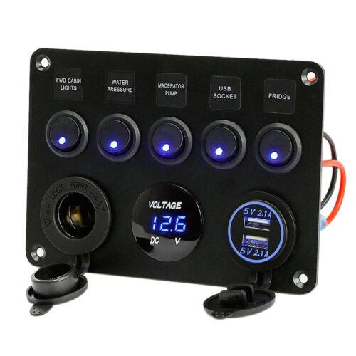 5 Gang 12V Campervan Car LED Rocker Switch Panel Dual USB Charger Socket Ports