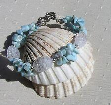 "Larimar & Crackled Clear Quartz Crystal Gemstone Bracelet ""Dominican Dew"""