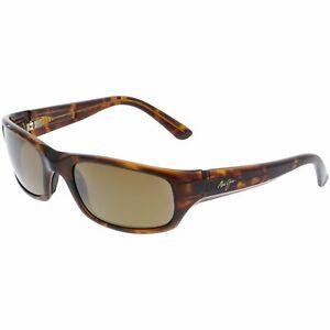 Maui-Jim-Men-039-s-Polarized-Stingray-H103-10-Brown-Wrap-Sunglasses