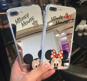 the best attitude 41679 98888 Details about Mickey and Minnie Mirror Silicone Cell Phone Case iPhone 7  and 7 plus Case
