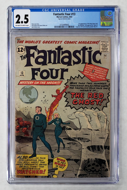 FANTASTIC FOUR #13 CGC 2.5 1st APPEARANCE WATCHER & RED GHOST 1963 LEE KIRBY