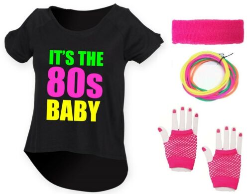 IT/'S THE 80s BABY Ladies Drop Top /& Accessories Fancy Dress Costume Outfit Neon