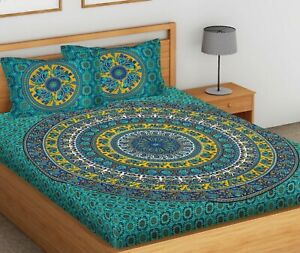 Indian Cotton Double  Size Jaipuri Bed Sheet /& 2Pillow Covers Floral Green sk