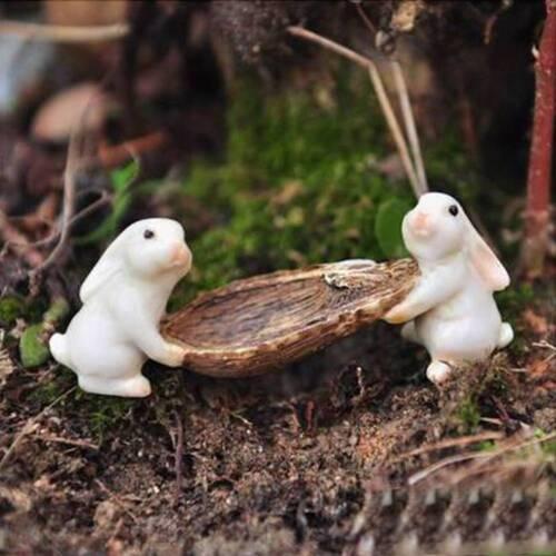 Fancy Fairy Garden Mini Boating Rabbit Figurines Micro Landscape Moss Miniatures