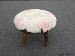 Vintage-French-Country-Round-Floral-Needlepoint-White-Footstool