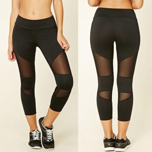 Women Yoga Gym Cropped Leggings 3//4 Pants Ladies Running Sport Exercise Trouser