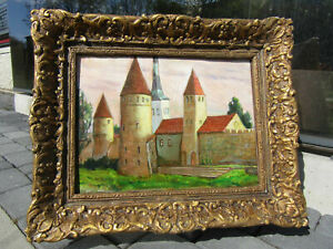 034-OLD-TOWN-CASTLE-034-Oil-Painting-Canvas-Baroque-White-Blue-Gold-Framed-Barbizon