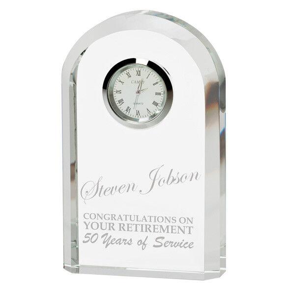 L'orologio in vetro inciso l'eternità 130 mm alta INCISIONE GRATUITA