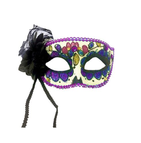 Deluxe Day of the Dead Rose Masque Yeux Senorita Halloween accessoire robe fantaisie UK