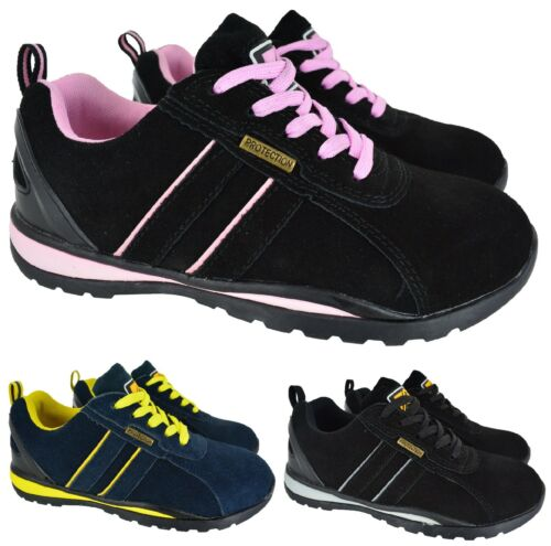 LADIES WOMENS LEATHER SAFETY WORK STEEL TOE CAP HIKING TRAINERS BOOTS SHOES SIZE