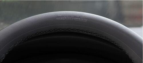 Grey PVC Leather Steering Wheel Wrap Cover Needle Thread DIY Lexus Mazda Benz