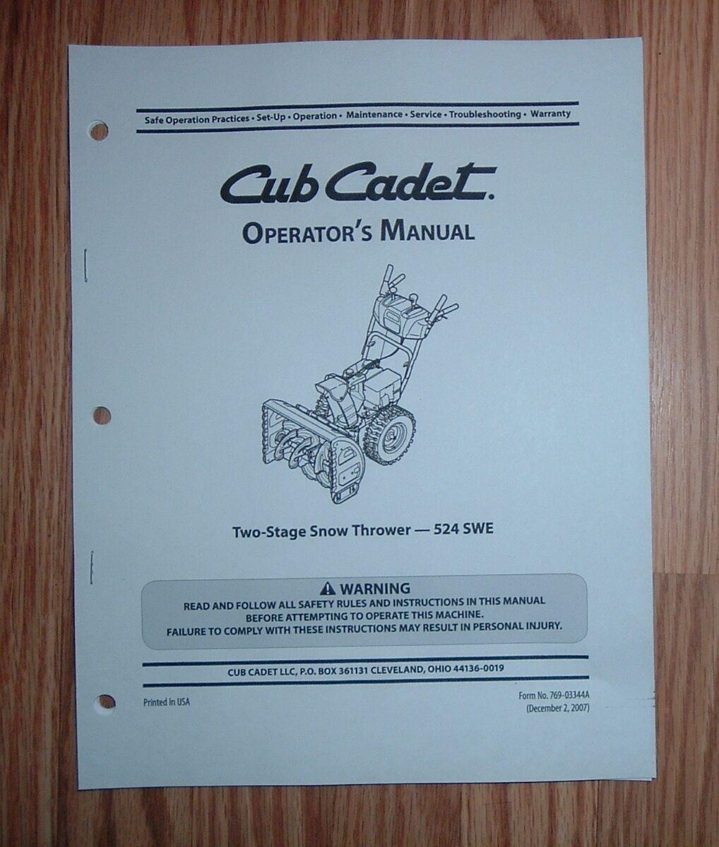 Cub cadet 524 swe snow thrower operator's manual | ebay.