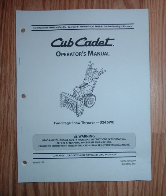 Cub cadet swe 528 snow thrower operator's manual with illustrated.