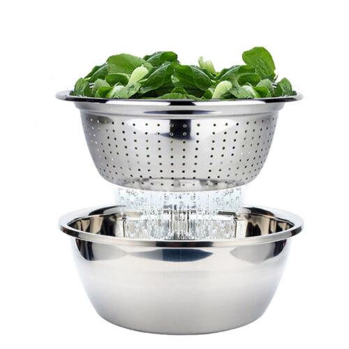 Stainless Steel Strainer Colander Kitchen Rice Sifter Salad Spinner 4 Sizes