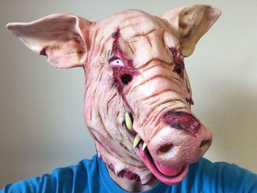 Blutige Getrennt Schwein Kopfmaske Horror Tier Halloween Kostüm