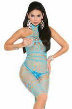Mini abito traforato intimo retato fluo neon Fishnet Bodystocking Dress Chemise