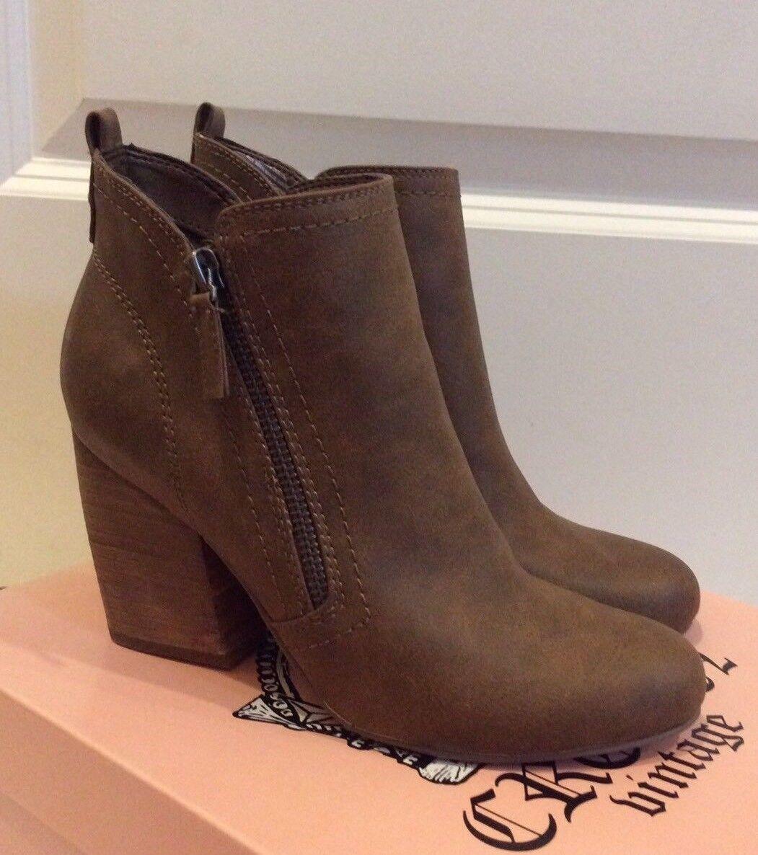 NEW Crown Vintage Brown Cognac Tan Ankle Boot Block Heel 6.5
