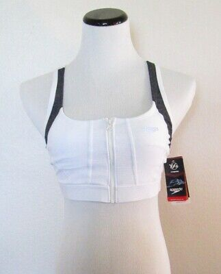 NWT Speedo Precision Pleat Zip Top Womens Fitness Swim Top White MSRP$54