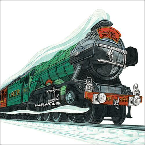 """Blank Card Birthday Card /""""Flying Scotsman/"""" Square Size 6.25/"""" x 6.25/"""" 9651 EVEH"""