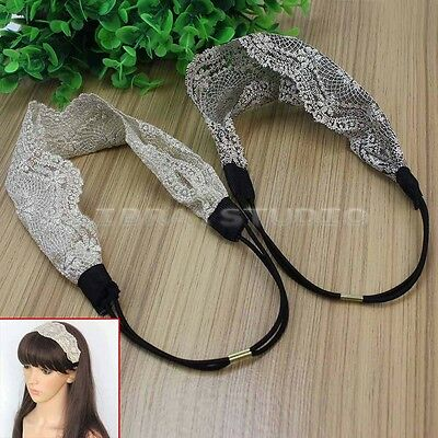 2Pcs Women's Lace Elastic Headband Hairband Hair Band Head Wrap Accessories