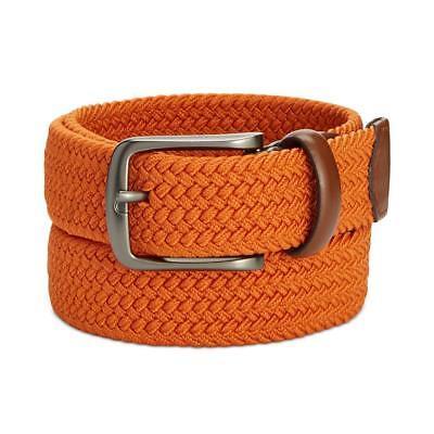 Perry Ellis Designer Mens Unisex Webbed Leather-Trim Belt Orange Small $42.50