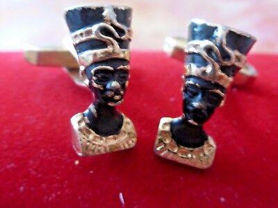 """Alte Manschettenknöpfe Eine ägyptische Art /handarbeit /mit Kopf """" Kleopatra? Werkzeuge"""