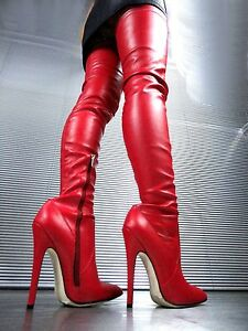 CQ-COUTURE-EXTREME-OVERKNEE-BOTA-STIEFEL-BOTAS-STRETCH-LEATHER-ROJO-44