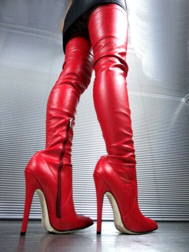 Couture Stiefel Bottes Cq Leather Rouge Botte Extreme Overknee Red 39 Stretch Zq11wad
