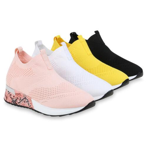 Damen Sportschuhe Slip On Sneaker Strick Turnschuhe Snake Prints 833977 Schuhe