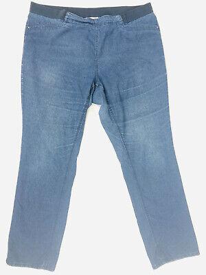 BNWT Corfu Denim Women MICRO DENIM-W04B2093 INDIGO PANTS WITH SOFT ELASTIC WAIST