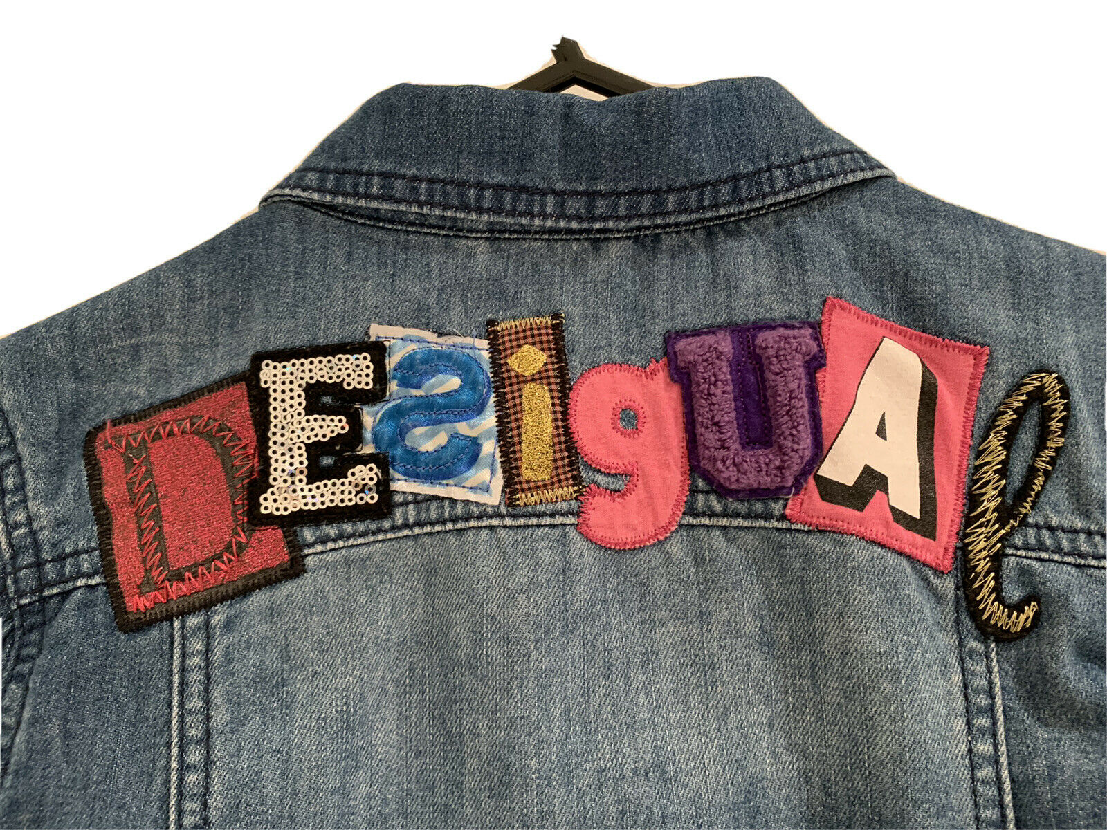 DESIGUAL GIRLS EMBROIDERED DENIM JACKET Size 11/12 years, Perfect Condition
