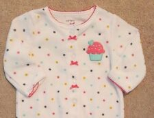 ADORABLE CARTER'S 3 MONTH POLKA DOT CUPCAKE TERRY CLOTH FOOTED SLEEP N PLAY