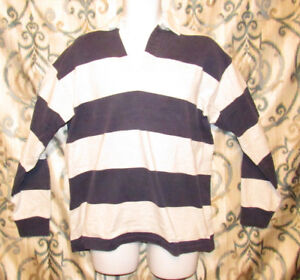 66af8c37 VINTAGE LL BEAN Striped Long Sleeve Rugby Polo Shirt Black Gray Mens ...
