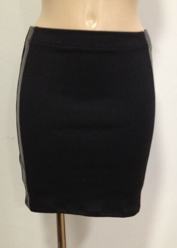NEW BLACK FAUX LEATHER BODYCON FITTED MINI SKIRT SZ 8-14