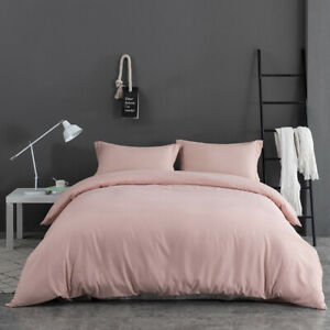 3PCS-Quilt-Duvet-Cover-Set-Pillowcase-Microfiber-Bedding-Soft-Queen-Size-Pink-US
