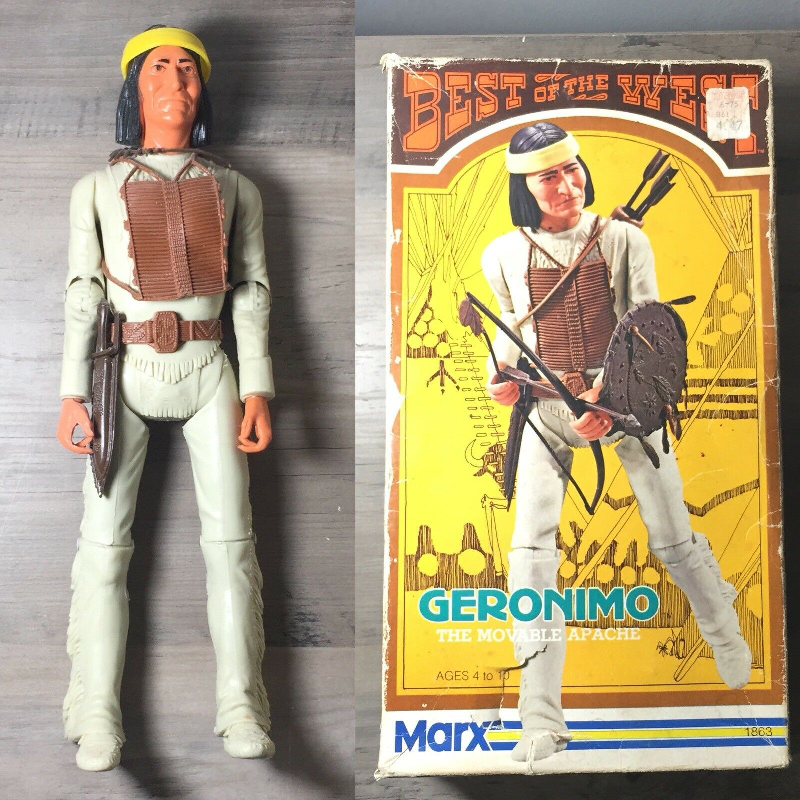 Vintage 60s Marx Fort Apache Fighters Geronimo () Action Figure Box Set
