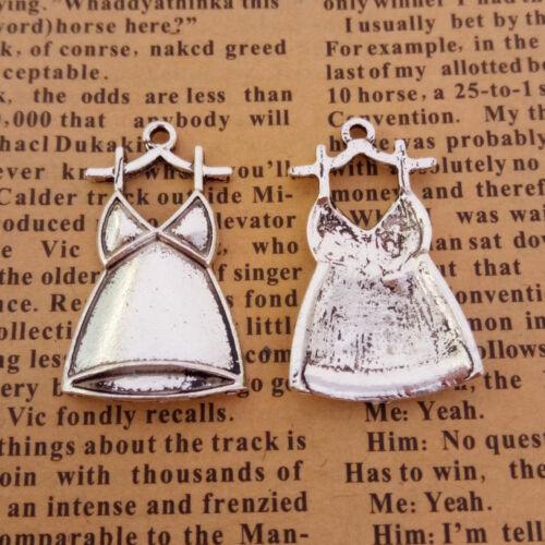 6pcs Charms robe Tibetan Silver Beads Pendentif À faire soi-même 18*30mm